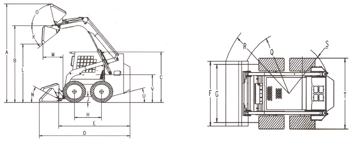 SSL45G skid steer loader size drawing