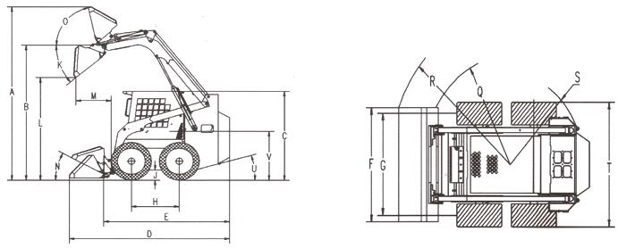 SSL60 skid steer loader size drawing